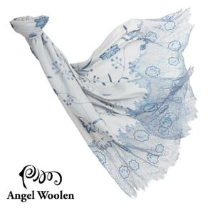 ANGEL WOOLEN 曼妙舞姿印度手工蕾絲披肩 典雅藍