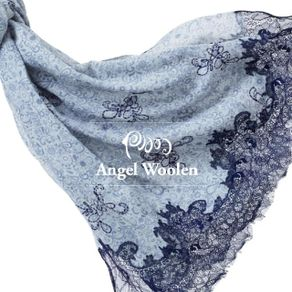 ANGEL WOOLEN 印花蕾絲印度胎羊毛手工披肩 共三色